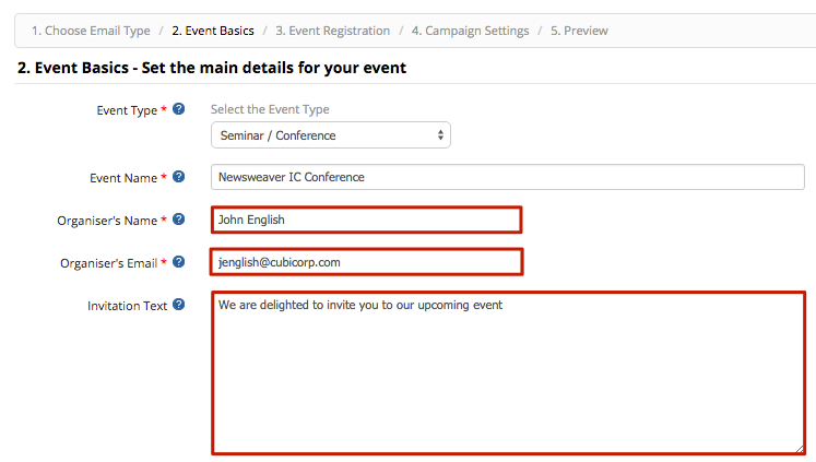 Create an event invitation newsweaver note the invitation text field will only appear once youve chose an event type stopboris Images